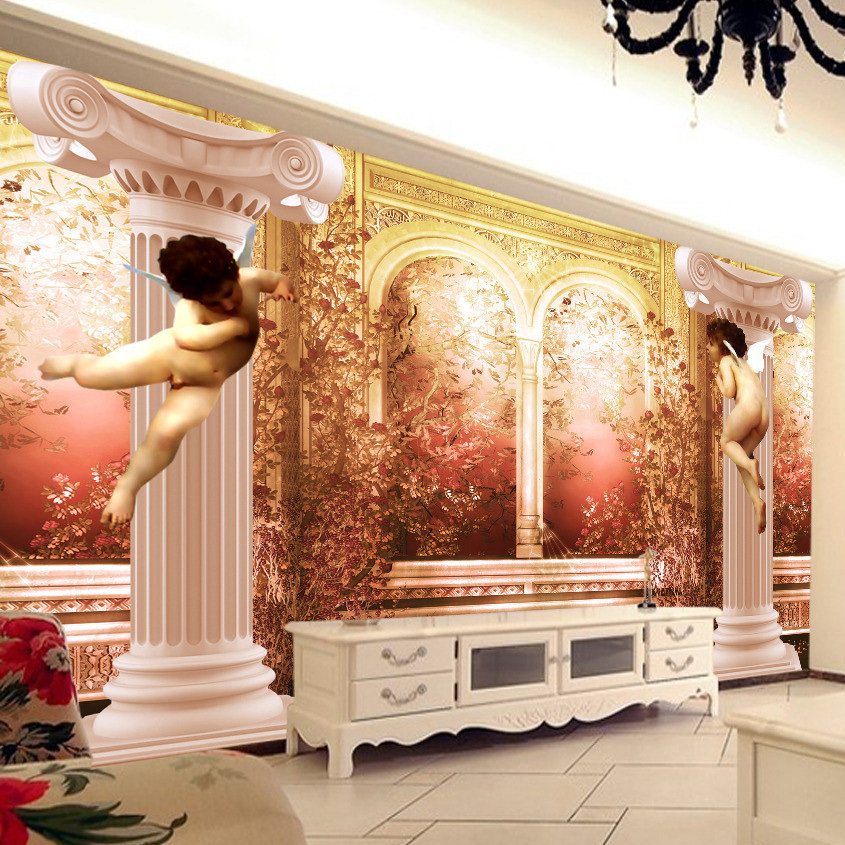 Custom Photo Wallpaper 3D Stereo Relief Angel Roman Column Large Art Mural Painting Living Room TV Background Mural Wall Paper  free shipping 3d stereo angel rome column fantasy wallpaper mural custom dining room children room background wallpaper