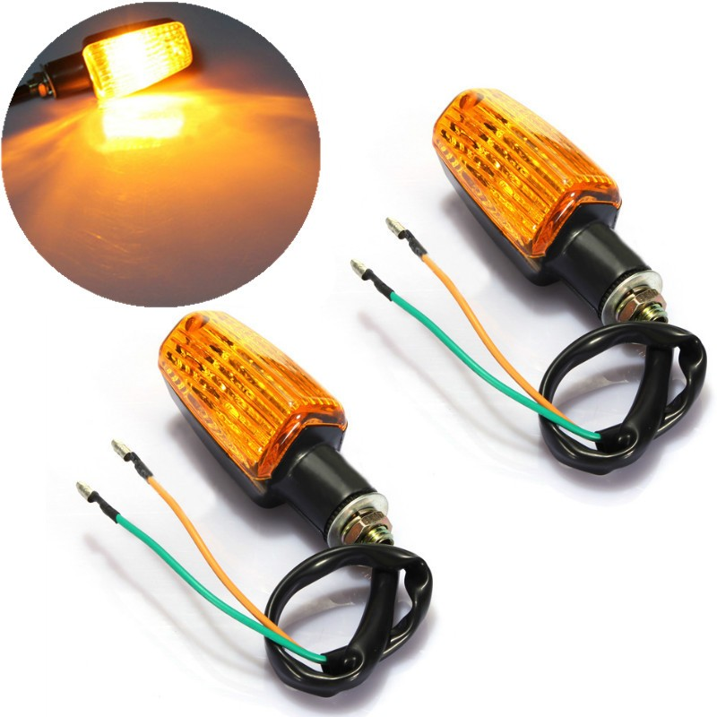 2PCS Universal Motorcycle Plastic Turn Signal Indicator Light DC 12V Amber Lens