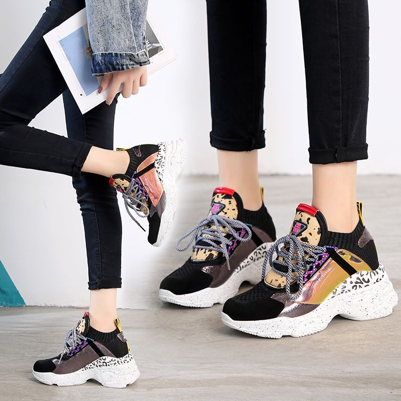 ASUMER Cow suede leather luxury sock shoes women sneakers lace up wedges casual shoes ladies platform sneakers fashion footwear sneakers