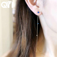 QYI Chain Earring For Woman Natural Round Moonstone Real Diamond 18K Yellow Gold Drop Earrings Wedding Engagement Jewelry