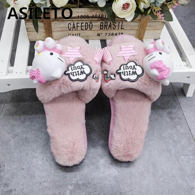 0cc9000b1 ASILETO cartoon indoor slippers women furry hello kitty cat slippers winter  fluffy cosplay house home slipper slides sapatosT273