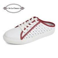 Femmes Sandales D'été Chaussures Demi Pantoufles Flip Flops Cuir Véritable Sandales Sabots Chaussures Femme Sandale Plate-Forme Plus La Taille 35-40