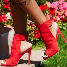 Hot Selling DEleventh Fashion Sexy Women's Peep-toe Slingbacks Stiletto High Heels Sandals Suede Party Dress Red Wedding Shoes