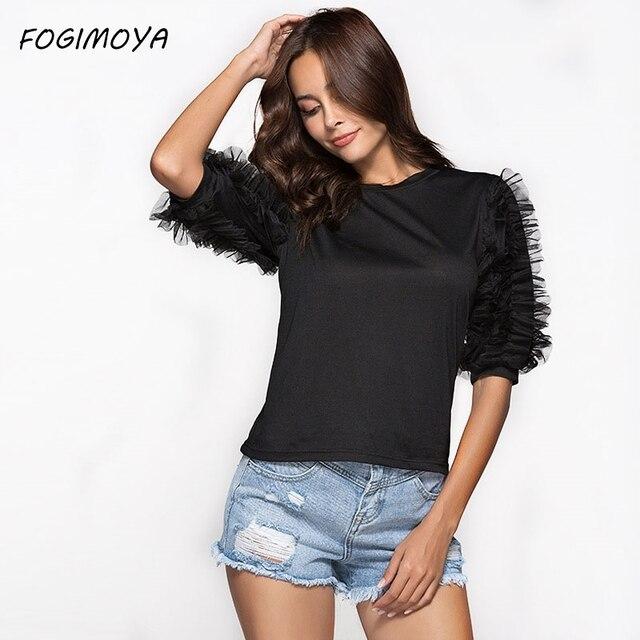 FOGIMOYA футболка Для женщин 2018 Летняя мода сетки лоскутное сплошной черный топ Для женщин топы с короткими рукавами футболка с круглым вырезом новая