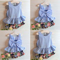 1-5 ages 2017 New summer girls clothing sets fashion children girls lace floral bowknot vest + shorts 2 pic clothing suits girls