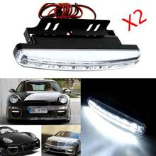 2019 New HOT SALE car styling 2pc 8 LED Daytime Driving Running Light DRL Car Fog Lamp Waterproof White DC 12V(China)