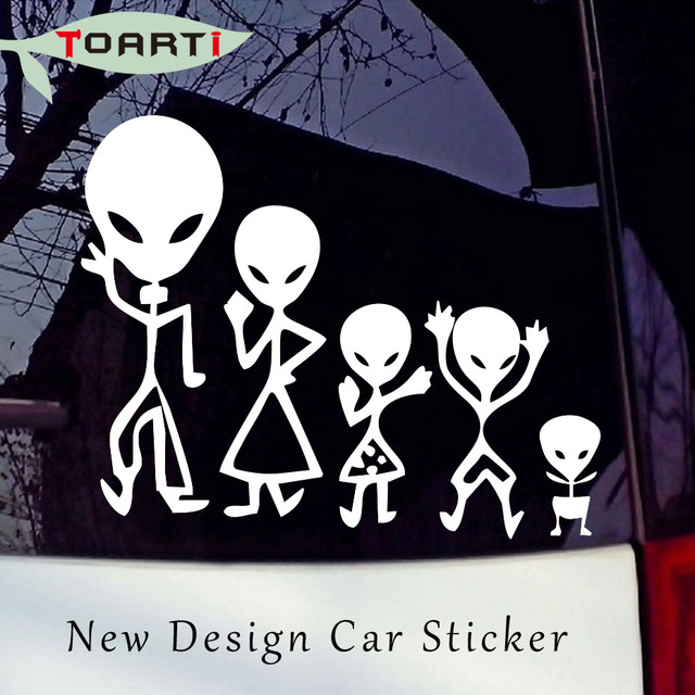 18*14.5CM Alien Family Car Stickers Images Decorative Vinyl Adhesive Decals  Funny Car Styling