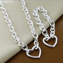 DOTEFFIL 925 ayar gümüş kalp 18 inç zincir kolye 8 inç bilezik seti kadınlar için düğün nişan parti takı