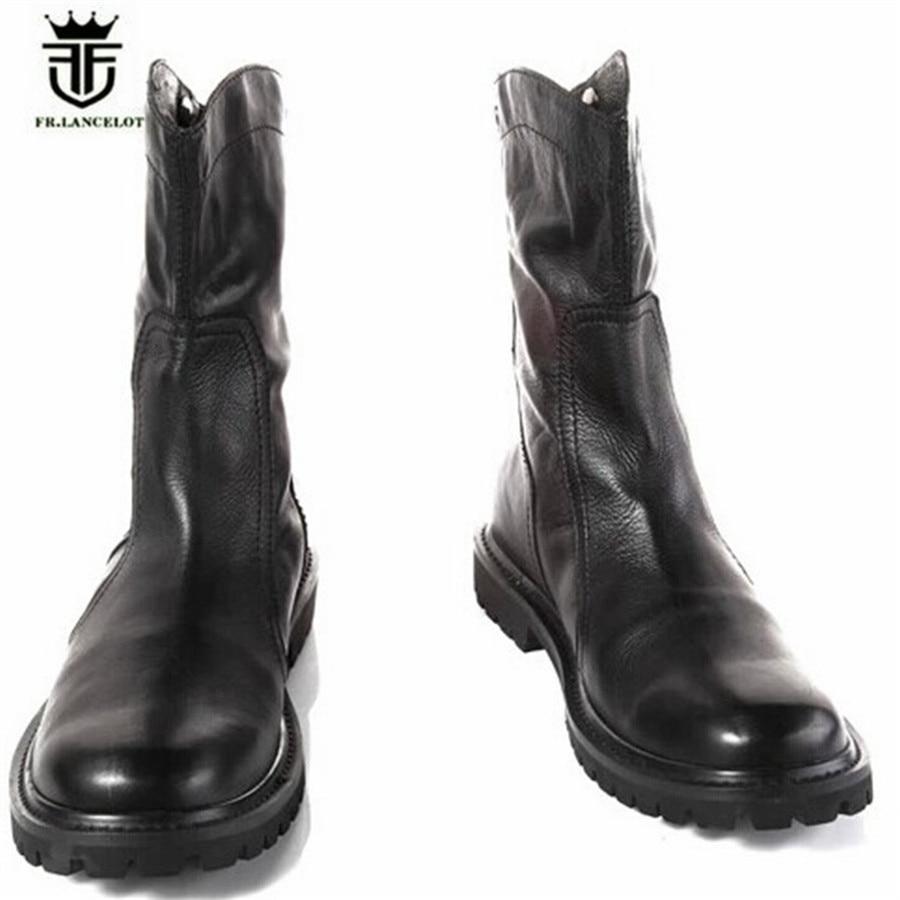 Wysokie góry anglia prawdziwej skóry rycerz buty kowbojskie nowy Zip ciepłe pluszowe męskie na świeżym powietrzu na świeżym powietrzu Martin buty na  Grupa 1