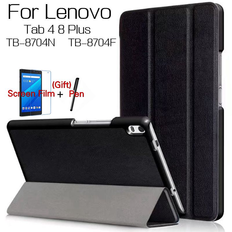 Magnetic Smart PU Leather Cover for Lenovo Tab 4 8 Plus TB-8704F TB-8704N 8.0 Tablet Funda Case With Auto Sleep+Screen Film+Pen genuine leather case for lenovo tab 4 8 plus cover cowhide tab48plus protective protector tb 8704f tb 8704n l tablet cases 8 0