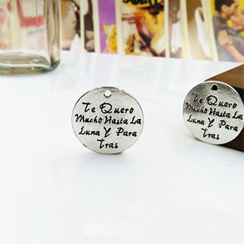 5pcs lot antique silver plated round charm spanish word i love you