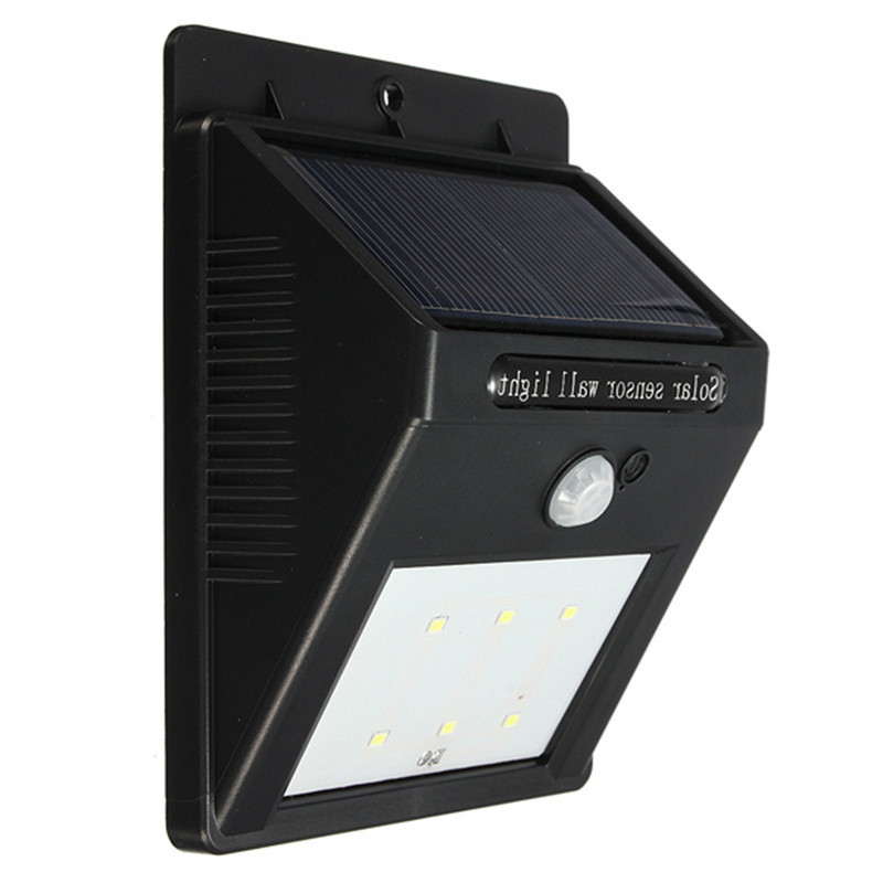 IP64 Waterproof 6 LED Solar PoweInfrared PIR Motion Sensor Panel Induction Outdoor Street Garden Fence Wall Lantern Light Lamp