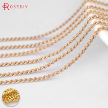 (30260)5 meters width 1.2MM Quality gold color Copper Dense thin Extended Chain Necklace Chains Diy Jewelry Findings Accessories(China)