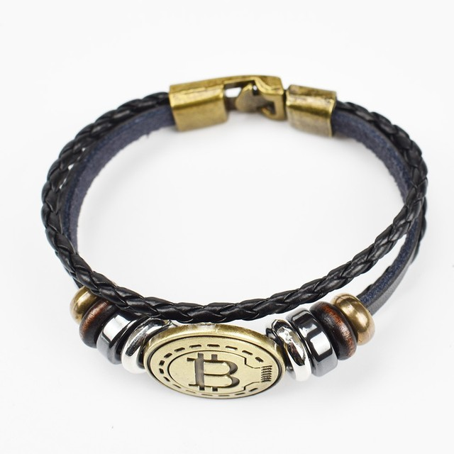 2019 New Bitcoin Bit Coin Bracelet Antique Brass Bracelets Handmade Gift Cryptocurrency Coin 2