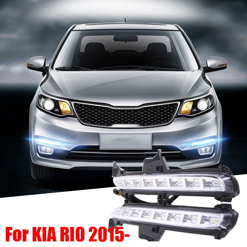 For RU KIA RIO K2 2015 2016 Super Bright Car Styling 8 LED DRL Daytime Running