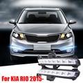 Para RU KIA K2 RIO 2015 2016 Super Bright Car Styling 8 LED DRL Daytime Running Luz Nevoeiro Modificação Piscas brilhante