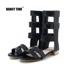 NANCY TINO 2019 Summer Gladiator Sandals Women Roman Black White Flat Zipper for Girls Shoes