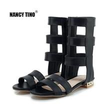 NANCY TINO 2019 Summer Gladiator Sandals Women Roman Black White Flat Zipper Sandals for Girls Shoes