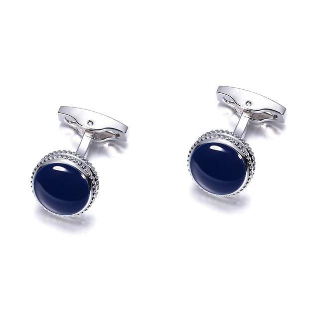 VAGULA Brass Cufflinks Classic Blue Enamel Gemelos Luxury Men Suit Shirt Cuff links gift 822 5