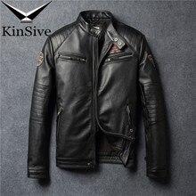 Vintage Motorcycle Jacket Men Leather 100% Real Cow Winter Mens Biker Coat Moto Genuine 4XL