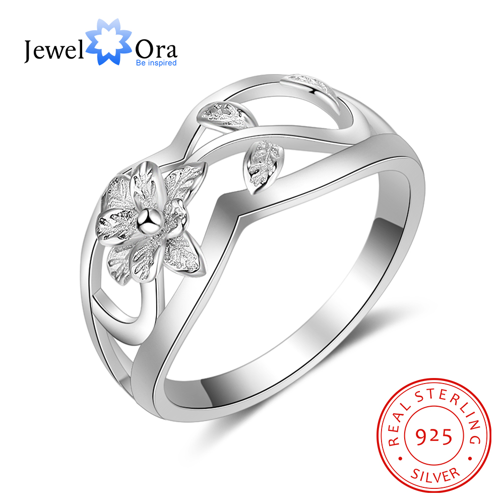 New Women Solid 925 Sterling Silver Rings Hollow Flower&Leaf Shape Fashion Jewelry Rings Gift For Girls JewelOra RI102756 punk style solid color hollow out rhinestone leaf shape pendant necklace for women