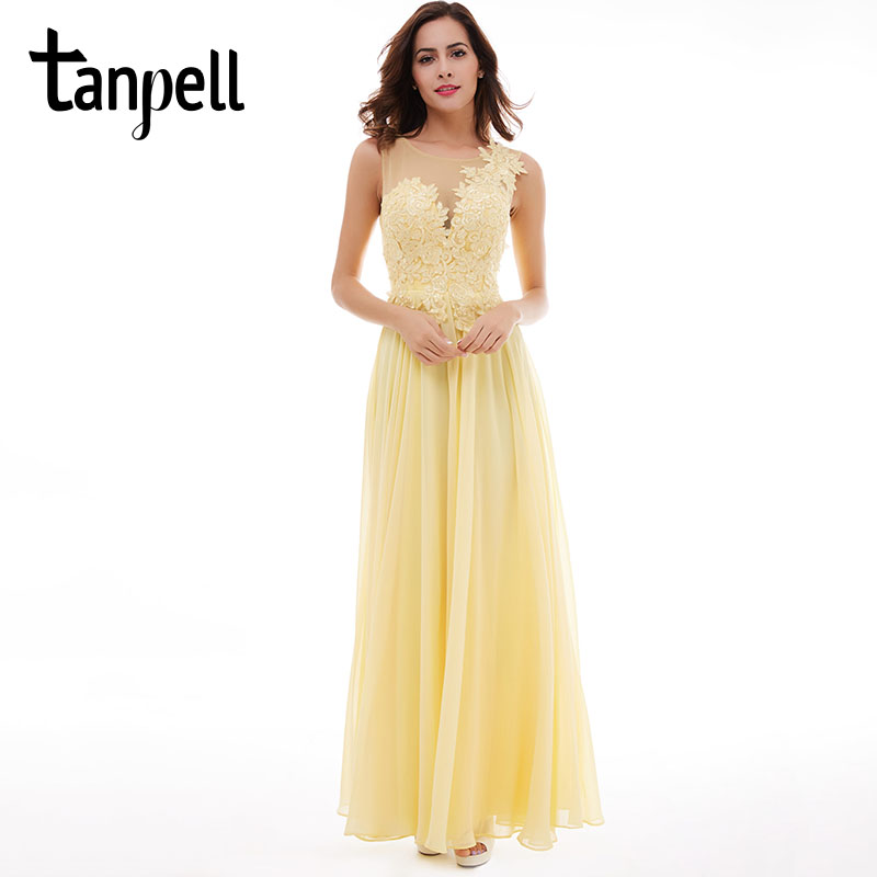 Tanpell lace up long bridesmaid dress sexy black scoop sleeveless appliques floor length dress daffodil wedding