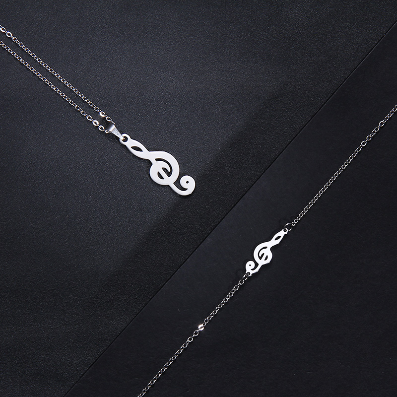 Stainless Steel Music Jewelry Set Necklace Bracelet Earring Treble Clef IMG_1964