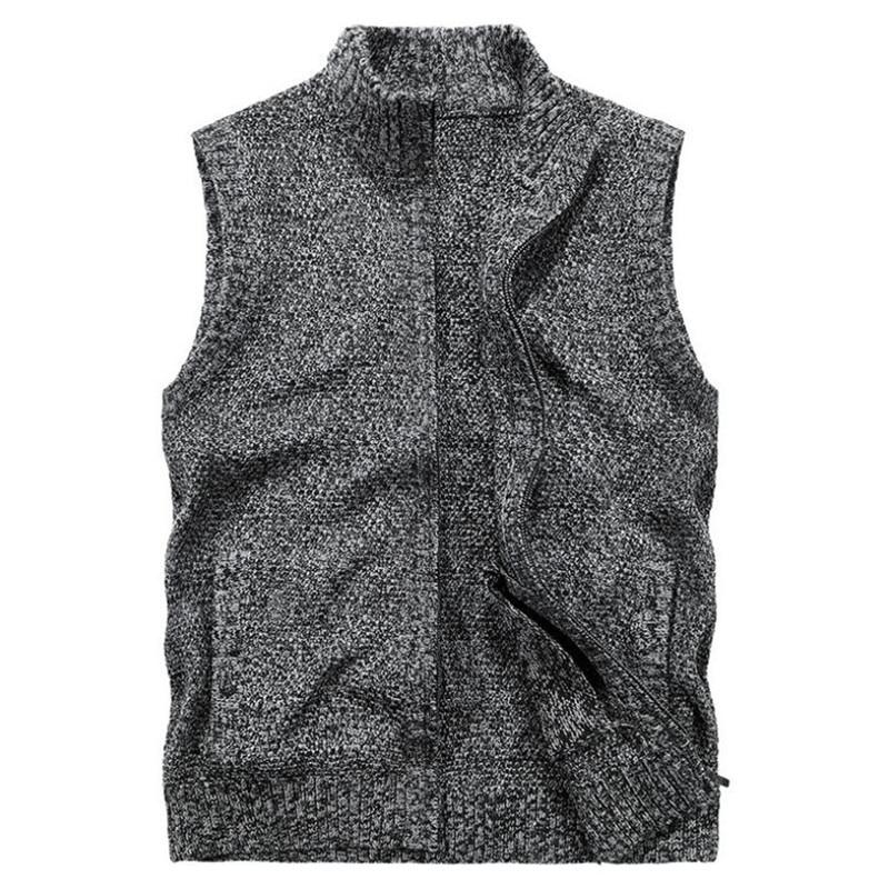 ROHOPO Thick Cotton Sleeveless Sweater Men,Wide Waist Deportes Cargo Sweater Man,Zipper Fly Casual Knitting Sueter Motor Biker