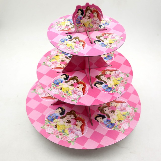 1set Lot Free Shipping Cartoon Three Princess Birthday Baby Shower Party Cardboard Snow White Cupcake Stand Hold 24 Cupcakes