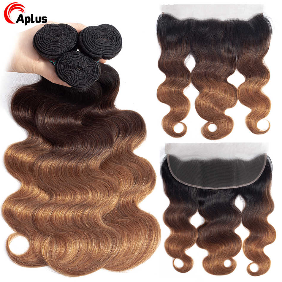 Aplus Remy Human Hair Extensions Peruvian Body Wave Ombre 3 Bundles With Frontal With Baby Hair T1b/4/30 Frontal with Bundles