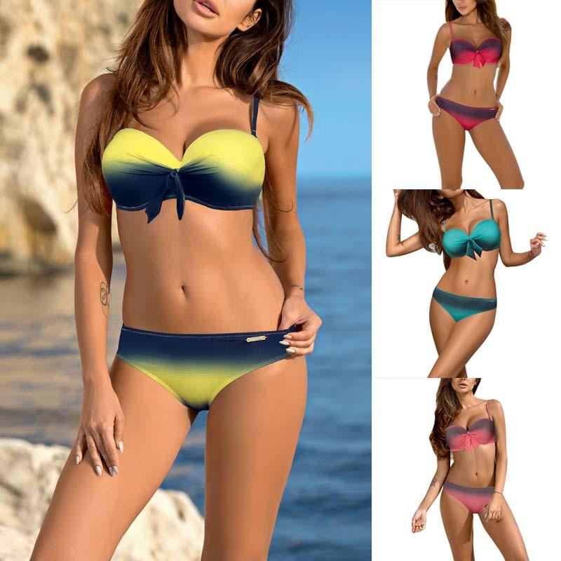 2017 Bowknot High Waist Bikini Set Women Low Waist Swimwear Sexy Push Up Bikini Baith Suit SwimSuit Women Thong Bikini solid gray blue sexy push up bikini set strappy thong women swimsuit low waist female swimwear 2017 beachwear halter bikinis