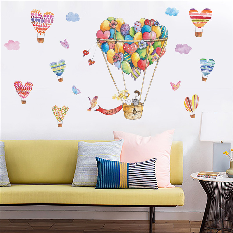 Cartoon Colorful Heart Shaped Hot Air Balloon Wall Stickers Bird Butterfly  Cloud Decorative Couple Bedroom Living