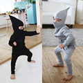 W-35, Pointy hat, Children boys clothing sets, long sleeve hoodies + pant, solid, 100% cotton terry