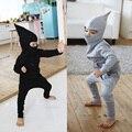 W-35, chapéu pontudo, crianças meninos conjuntos de roupas, hoodies manga longa + calça, sólida, 100% algodão terry
