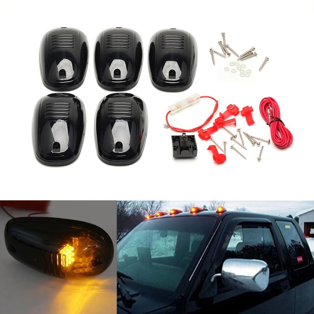 New 5PCS/Set Amber LED Car Cab Roof Marker Running Lights For Truck SUV 4x4 Pickup lamp kit van Black Smoked Lens