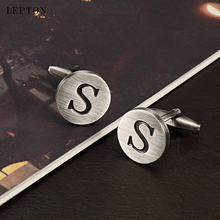 hot deal buy lepton letters s of an alphabet cufflinks for mens antique silver plating round letters s cuff links men shirt cuffs cufflinks