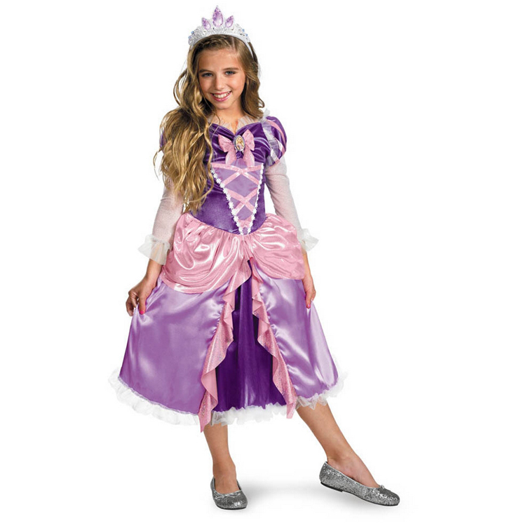 2015 New Girls Princess Halloween Disfraces Vestidos Dress Tangled Rapunzel Shimmer Deluxe Toddler Child Costume