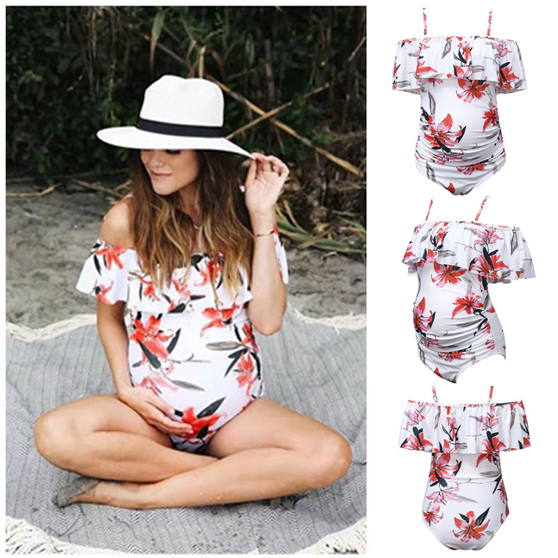 Summer Maternity Swimwear Plus Size Bathing Suits Maternity Women Striped Bikini Swimsuit Beachwear Pregnant Swimming Suits Lady