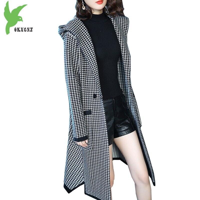 Высокое качество вязаный свитер Осенне зимняя Дамская обувь толстые кардиган, куртки Хаундстут ветровка с капюшоном свободные теплые паль