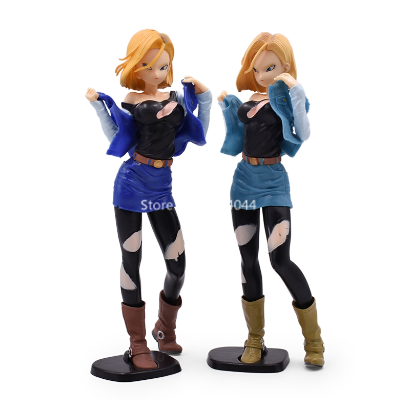 2 Color 24cm <font><b>Sexy</b></font> <font><b>Android</b></font> <font><b>18</b></font> lazuli PVC Action Figure Japan Anime <font><b>Dragon</b></font> <font><b>Ball</b></font> Z Role Model Toy Collection image