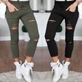Das Senhoras Das mulheres Denim Jeans Skinny Rasgada Cut Cintura Alta Legging Skinny Stretch Cintura Alta Rasgado Calças Lápis Slim