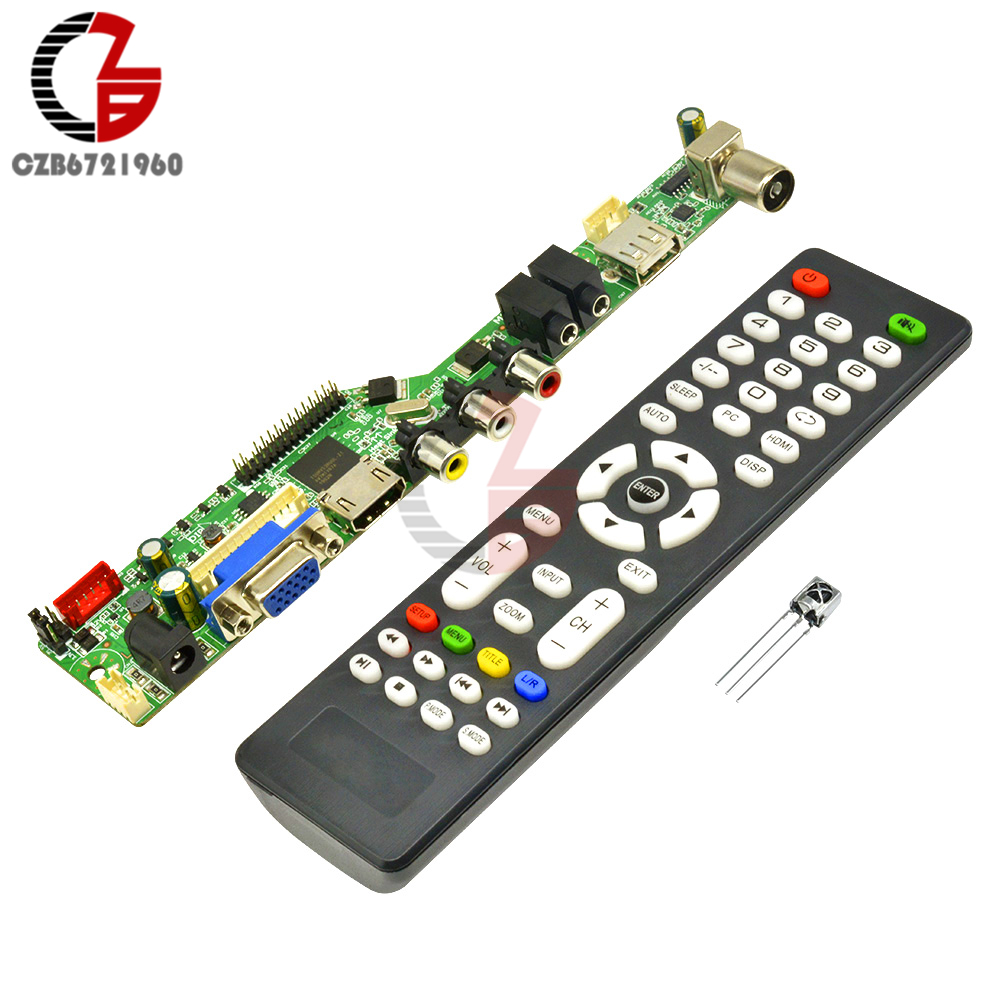 Upgrade 1920x1080 12V Digital V29 <font><b>LCD</b></font> Controller Driver <font><b>Board</b></font> <font><b>TV</b></font> Motherboard <font><b>HDMI</b></font> <font><b>VGA</b></font> <font><b>AV</b></font> <font><b>TV</b></font> <font><b>USB</b></font> Interface with Remote Control image