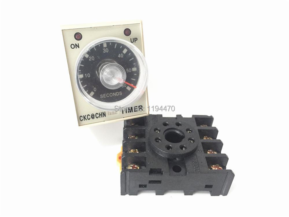 AH3-3 DC 12V 60S Power On Delay Timer Time Relay 12VDC 0-60 second with Base