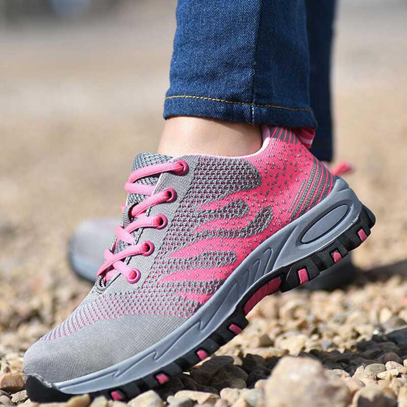 ความปลอดภัยรองเท้าผู้หญิงทำงาน & รองเท้าเพื่อความปลอดภัยSteel Toeฤดูร้อนBreathableตาข่ายอุตสาหกรรม & ก่อสร้างPuncture Proof Workรองเท้า