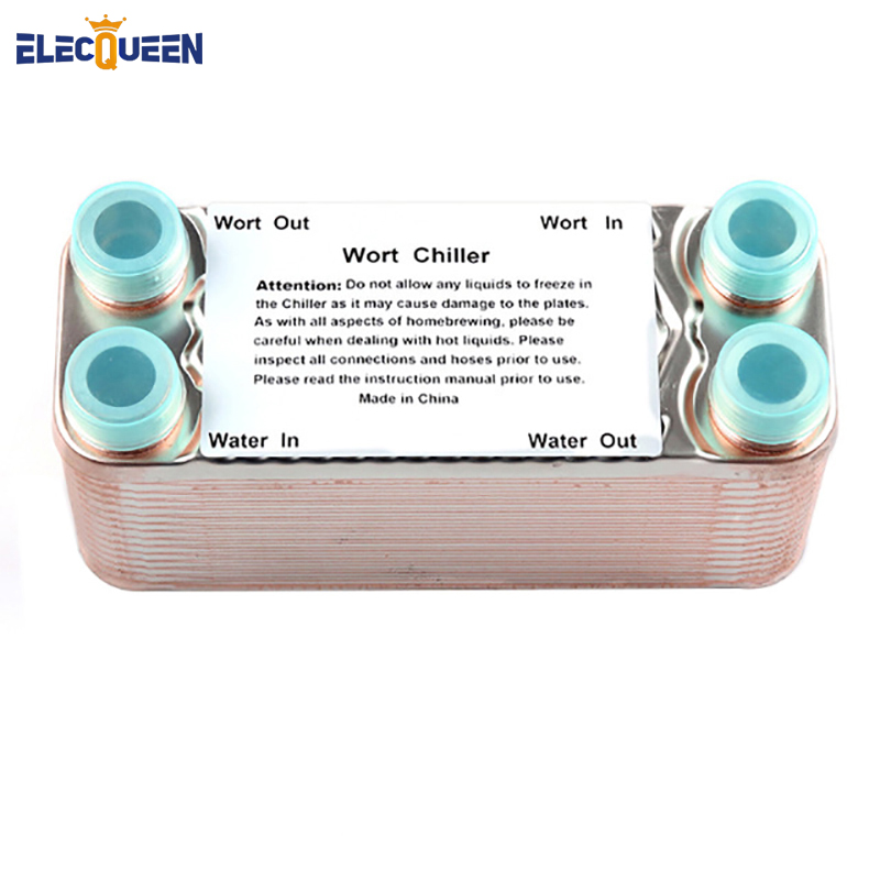 30 Plates Wort Chiller Stainless Plates Brewing Chiller With 3/4 NPT Garden Hose Thread Heat Exchanger Wort Chiller