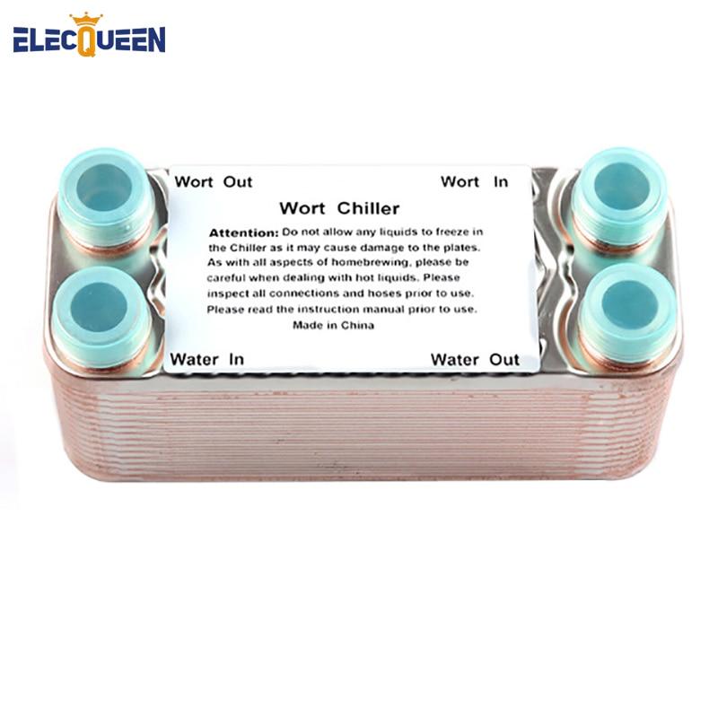 30 Plates Wort Chiller Stainless Plates Brewing Chiller With 3/4 NPT Garden Hose Thread Heat Exchanger Wort Chiller