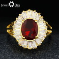 Four Color Cubic Zirconia Gold Plated Cocktail Ring  Fashion Jewelry Crystal Rings For Women (JewelOra RI101307)