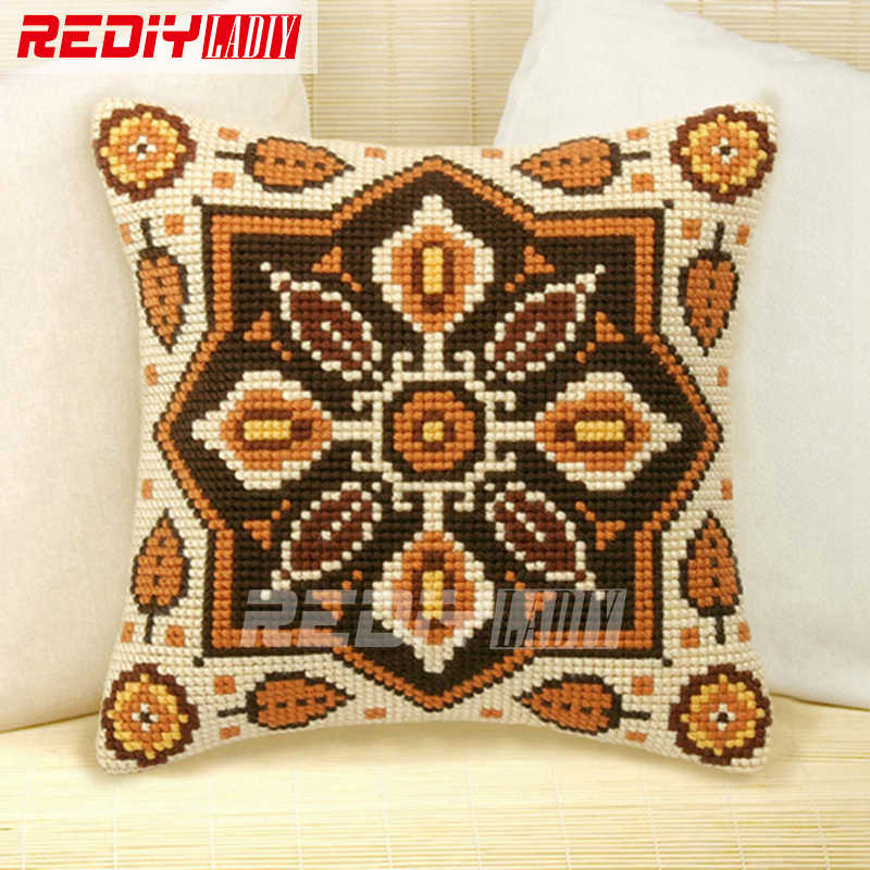 LADIY Cross Stitch Cushion Cover Pre-Printed Cross-Stitch Kit for Embroidery Mandala Cushions for Sofa Decorative Pillow Case