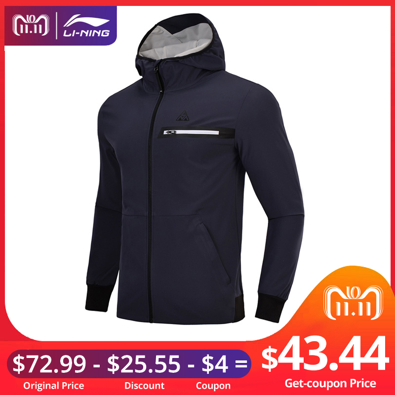Li-Ning Men Outdoor Explore Jacket Regular Fit 81% Polyester 11% Spandex Breathable Watershell LiNing Sport Coat AJDN007 MWJ2522 inbike outdoor cycling polyester spandex jacket pants for men white black