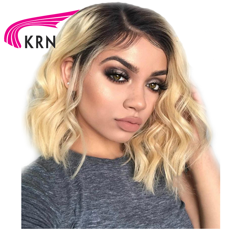 KRN Ombre 1B/613 Lace Front Human Hair Wigs With Baby Hair 130 Density Remy Hair Short Wavy Pre Plucked Brazilian Lace Front Wig